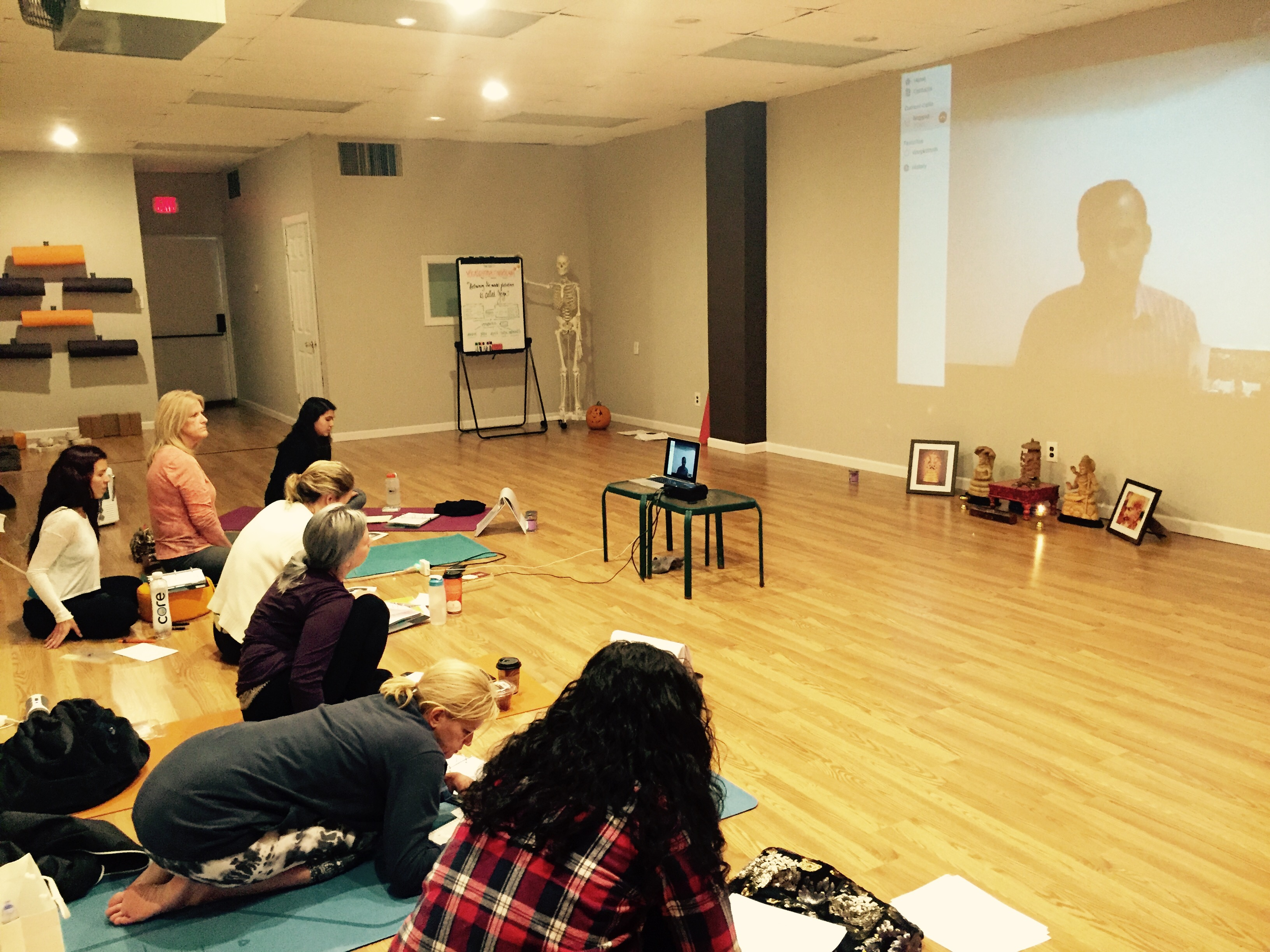Our Yoga Sutras classes with my Sanskrit teacher Sudheera M.H. in a conference call from Mysore-India. Is amazing to have the opportunity to learn Yoga Sutras from a Sanskrit scholar.